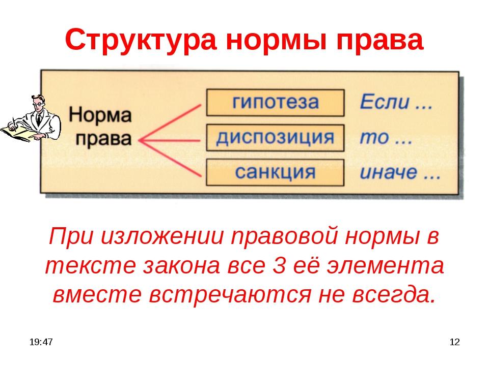 * * Структура нормы права При изложении правовой нормы в тексте закона все 3...