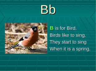 Bb B is for Bird. Birds like to sing. They start to sing When it is a spring.