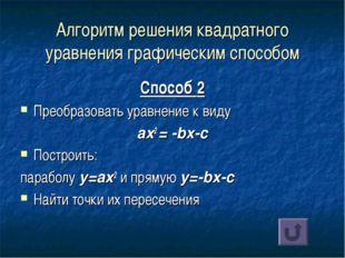 Алгоритм решения квадратного уравнения графическим способом Способ 2 Преобраз