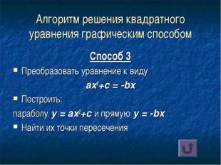 Алгоритм решения квадратного уравнения графическим способом Способ 3 Преобраз
