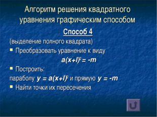 Алгоритм решения квадратного уравнения графическим способом Способ 4 (выделен