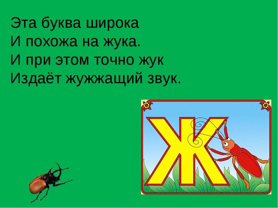 Эта буква широка И похожа на жука. И при этом точно жук Издаёт жужжащий звук.