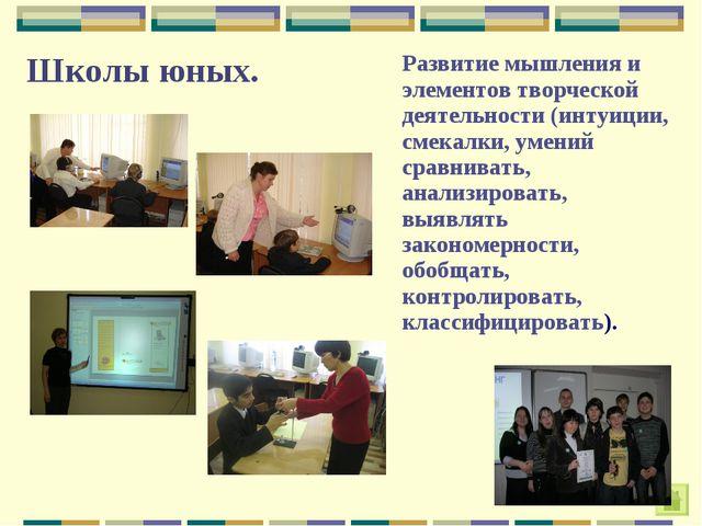 Школы юных.Развитие мышления и элементов творческой деятельности (интуиции,...