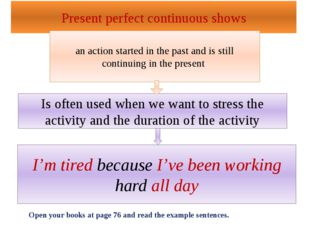 Present perfect continuous shows an action started in the past and is still c