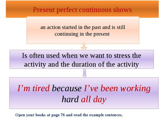Present perfect continuous shows an action started in the past and is still c...