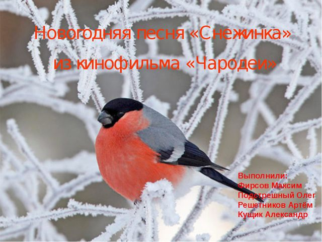 Новогодняя песня «Снежинка» из кинофильма «Чародеи» Выполнили: Фирсов Максим...