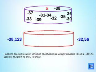 -33 Найдите все значения х, которые расположены между числами -32,56 и -38,12