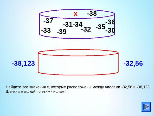 -33 Найдите все значения х, которые расположены между числами -32,56 и -38,12...