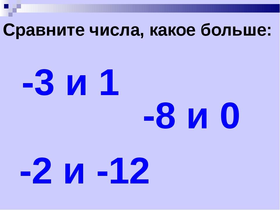Сравните числа, какое больше: -3 и 1 -8 и 0 -2 и -12