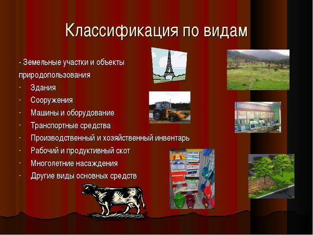 Классификация по видам - Земельные участки и объекты природопользования Здани...