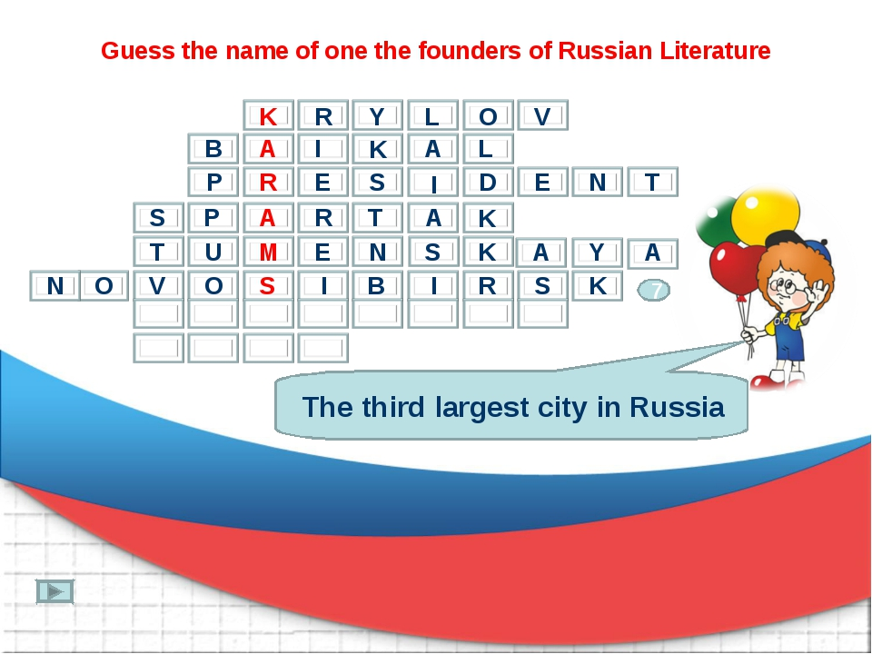Guess the name of one the founders of Russian Literature The third largest ci...