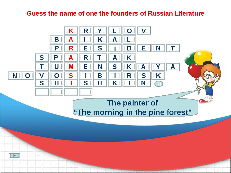 "Guess the name of one the founders of Russian Literature The painter of ""The..."