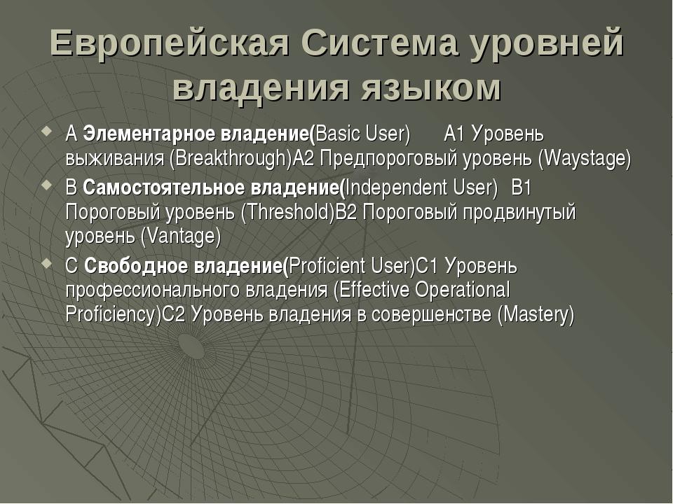Европейская Система уровней владения языком А Элементарное владение(Basic Use...