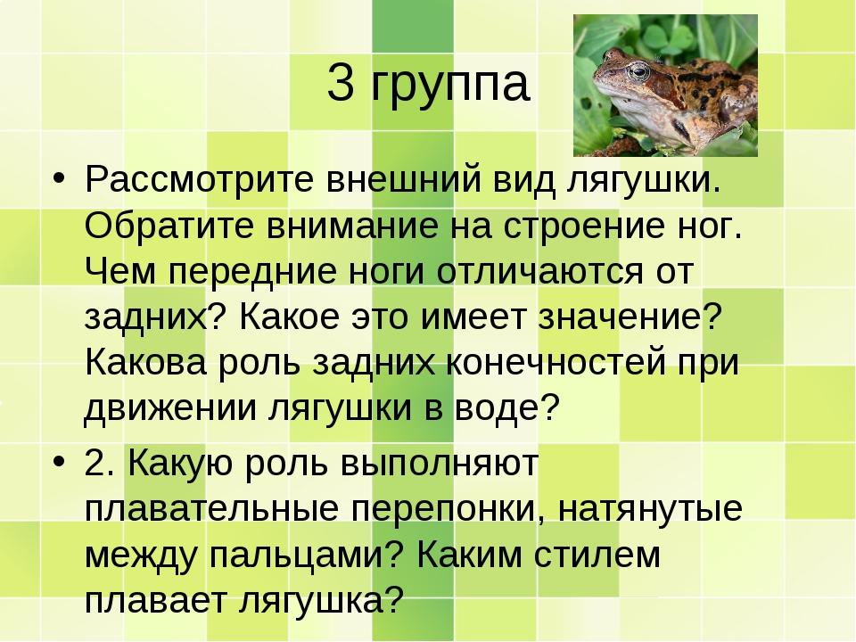 3 группа Рассмотрите внешний вид лягушки. Обратите внимание на строение ног....