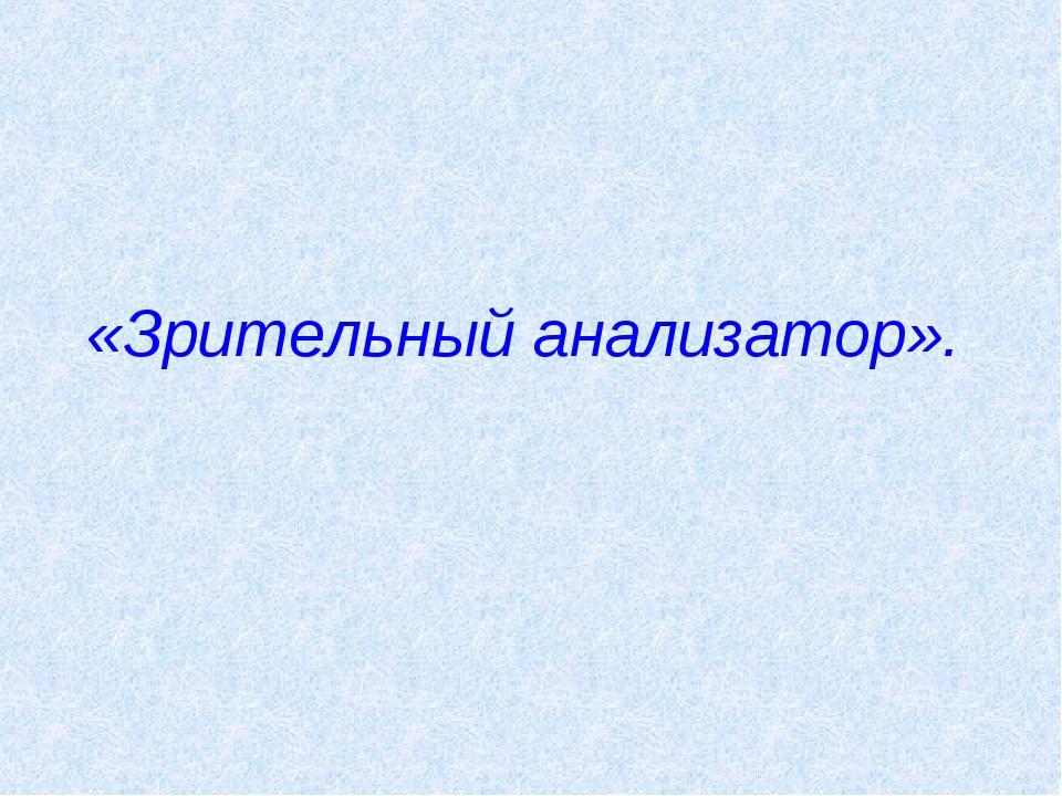 «Зрительный анализатор».