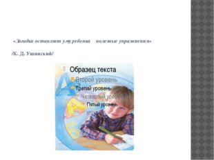 «Загадка оставляет уму ребенка полезные упражнения» /К. Д. Ушинский/