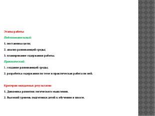 Этапы работы: Подготовительный: 1. постановка цели; 2. анализ развивающей сре