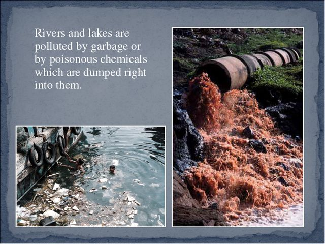 Rivers and lakes are polluted by garbage or by poisonous chemicals which are...
