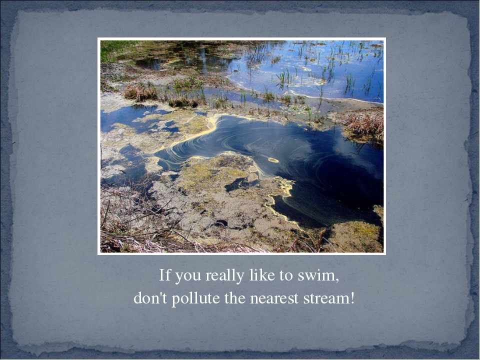 If you really like to swim, don't pollute the nearest stream!