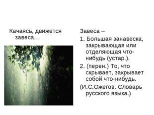 Качаясь, движется завеса… Завеса – 1. Большая занавеска, закрывающая или отде