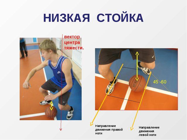 НИЗКАЯ СТОЙКА вектор центра тяжести. Направление движения правой ноги Направл...