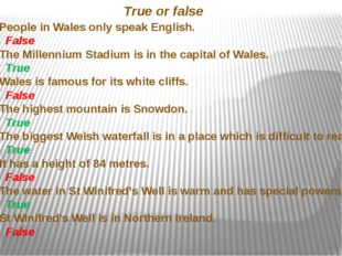 People in Wales only speak English. False 2. The Millennium Stadium is in the