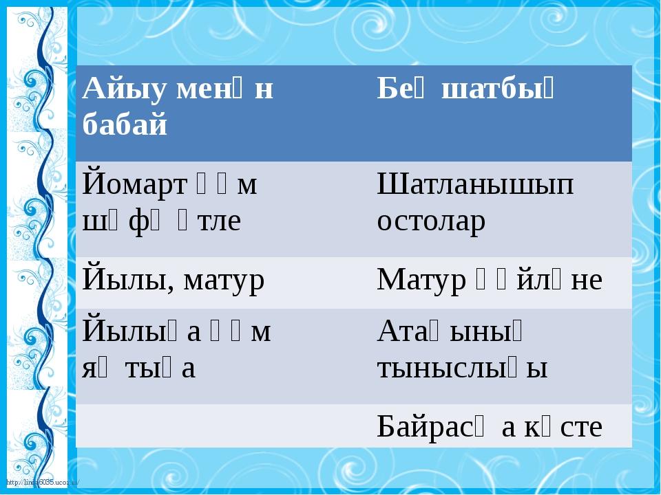 Айыу менәнбабай Беҙ шатбыҙ Йомарт һәм шәфҡәтле Шатланышып остолар Йылы, мату...