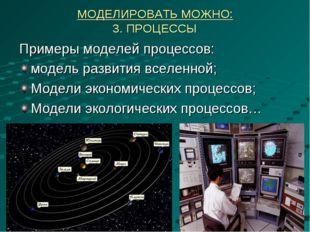 МОДЕЛИРОВАТЬ МОЖНО: 3. ПРОЦЕССЫ Примеры моделей процессов: модель развития вс