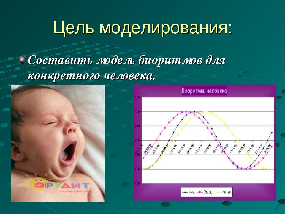 Цель моделирования: Составить модель биоритмов для конкретного человека.