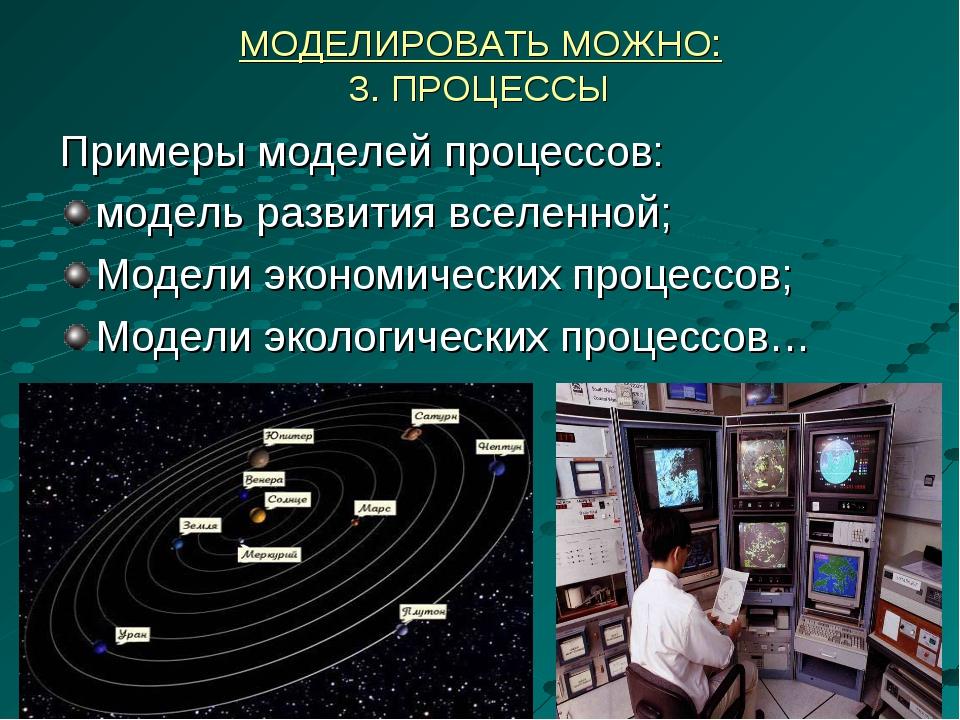 МОДЕЛИРОВАТЬ МОЖНО: 3. ПРОЦЕССЫ Примеры моделей процессов: модель развития вс...
