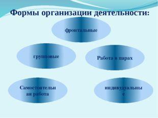 Формы организации деятельности: индивудуальные групповые фронтальные Работа в