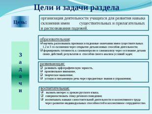 Цель: организация деятельности учащихся для развития навыка склонения имен су
