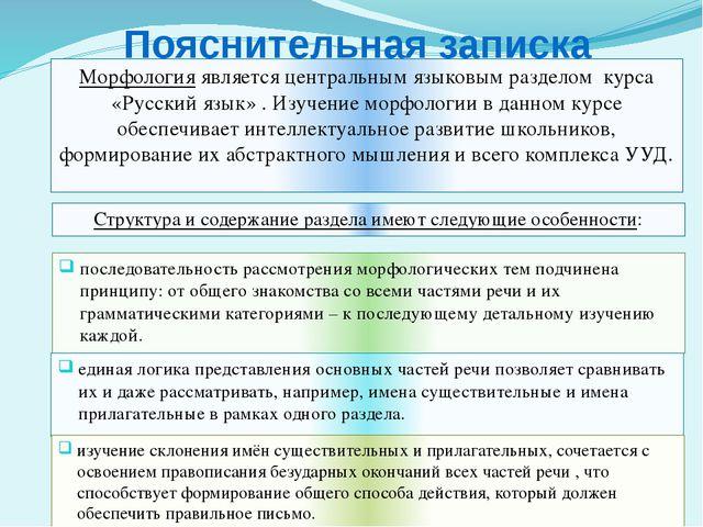 Пояснительная записка Морфология является центральным языковым разделом курса...