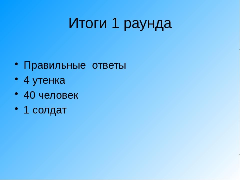 Итоги 1 раунда Правильные ответы 4 утенка 40 человек 1 солдат