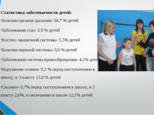 Статистика заболеваемости детей: Болезни органов дыхания -58,7 % детей Заболе
