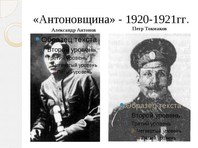 «Антоновщина» - 1920-1921гг. Петр Токмаков Александр Антонов