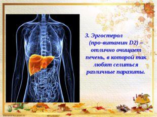 3. Эргостерол (про-витамин D2) –отлично очищает печень, в которой так любят с