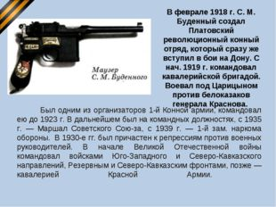 В феврале 1918 г. С. М. Буденный создал Платовский революционный конный отря