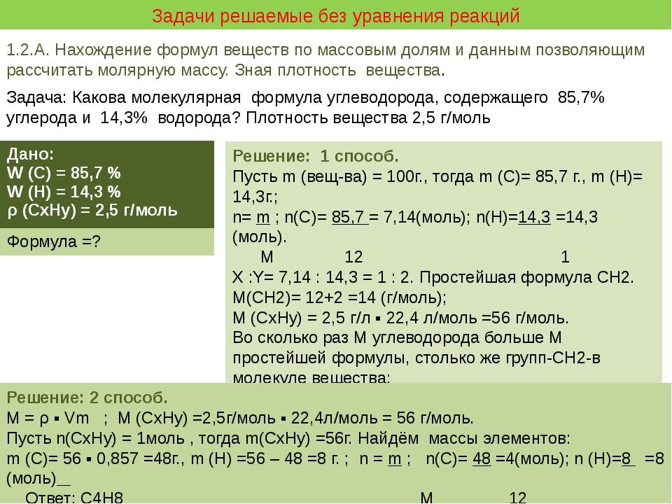 Задачи решаемые без уравнения реакций 1.2.А. Нахождение формул веществ по ма...