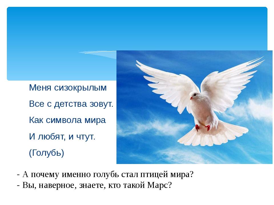Меня сизокрылым Все с детства зовут. Как символа мира И любят, и чтут. (Голуб...