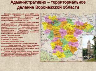 Административно – территориальное деление Воронежской области Область образов