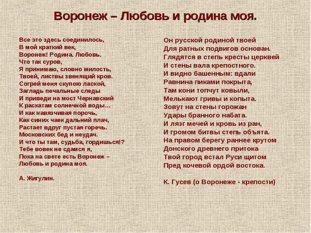 Воронеж – Любовь и родина моя. Все это здесь соединилось, В мой краткий век,...
