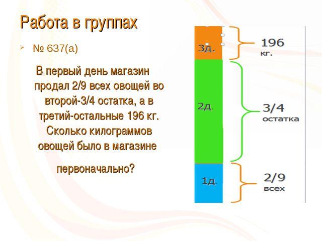 Работа в группах № 637(а) В первый день магазин продал 2/9 всех овощей во вто...