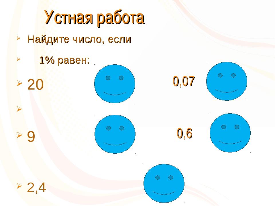 Устная работа Найдите число, если 1% равен: 20 9 2,4 2000 7 900 60 240 0,07...