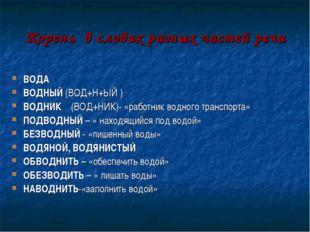 Корень в словах разных частей речи ВОДА ВОДНЫЙ (ВОД+Н+ЫЙ ) ВОДНИК (ВОД+НИК)-