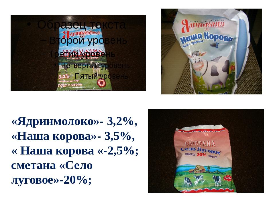 «Ядринмолоко»- 3,2%, «Наша корова»- 3,5%, « Наша корова «-2,5%; сметана «Село...