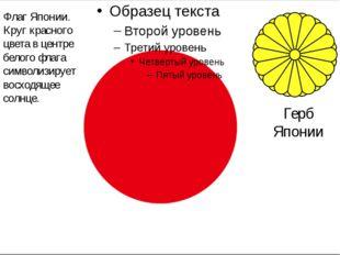 Герб Японии Флаг Японии. Круг красного цвета в центре белого флага символизи