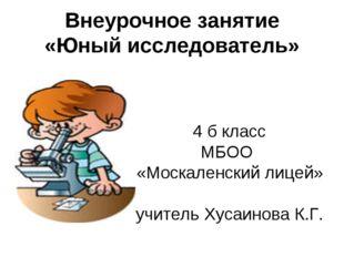 Внеурочное занятие «Юный исследователь» 4 б класс МБОО «Москаленский лицей» у