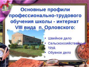 Основные профили профессионально-трудового обучения школы - интернат VIII ви