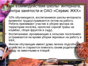 При взаимодействии школы- интерната, центра занятости и ОАО «Сервис ЖКХ» 10%